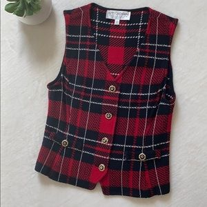 St. John Collection Red Plaid Vest Size 2 Like NEW
